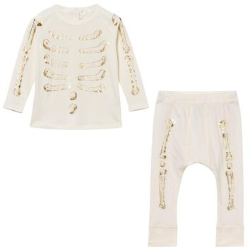 Stella McCartney Baby Girls Gold Skeleton Pajama Set