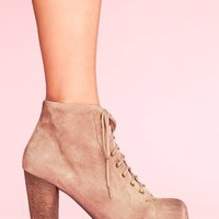 Lita Platform Boot - Taupe Suede in  Shoes at Nasty Gal