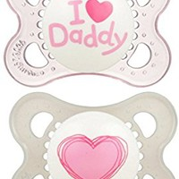 MAM Love & Affection Orthodontic Pacifier, I Love Daddy, Girl, 0-6 Months, 2-Count
