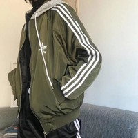 """Adidas"" Unisex Sports Casual Reflective Print Logo Stripe Long Sleeve Couple Zip Cardigan Hooded Jacket Coat"