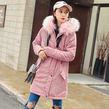 2017 New Winter Jacket Women Long Coat Corduroy Removable Raccoon Fur Collar Warm Thick Lambs Wool Liner Parkas Female Outerwear