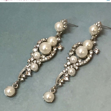 Bridal jewelry, Bridal earrings, Wedding jewelry, Bridesmaids earrings, Hollywood jewelry, Great Gatsby earrings, Vintage inspired earrings