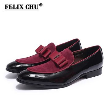 FELIX CHU Brand New Gorgeous Mens Wedding Loafers Patent Leather With Nubuck Leather Male Party Dinner Dress Casual Shoes 39-46