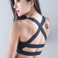 Sexy Workout Fitness Hollow Out Back Cross Bandage