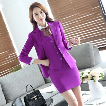 Novelty Purple Slim Fashion Professional Formal OL Styles Autumn Winter Business Womens Jackets Blazers Female Tops Blaser Coat