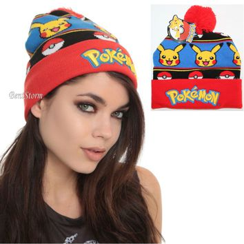 Licensed cool Pokemon GO PIKACHU POKE BALL Fair Isle Embroidered Knit FoldOver Pom Beanie Hat