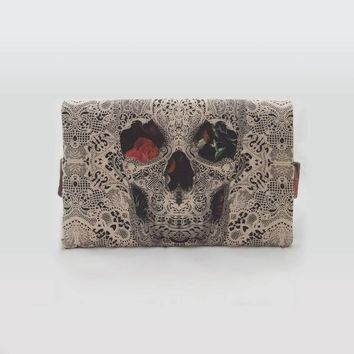 Lace Skull Foldover Clutch With Handle, Skull Printed Fold Over Clutches With Unique Design, Original Handbag
