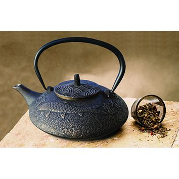 """Koi"" Tetsubin Teapot in Black and Copper by Old Dutch International"