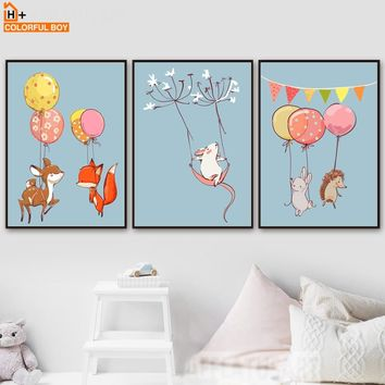 COLORFULBOY Deer Fox Rabbit Mouse Balloon Wall Art Canvas Prints Poster Canvas Painting Wall Pictures Bedroom Kids Room Decor
