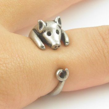 Lucky Silver Pig Wrap Ring