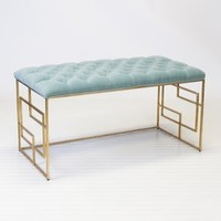 Worlds Away, Devin Gold Leafed Bench W. Seafoam Tufted Top, Devin GSF