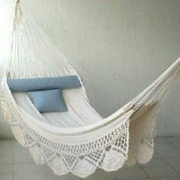Amazon.com: Nicamaka Single Hammock - Ecru: Patio, Lawn & Garden