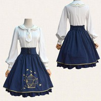New Women Spring Summer Japanese lolita Skirts Slim Bow Navy shirt Female Classical Striped Lace Embroidery Skirt White Blouse