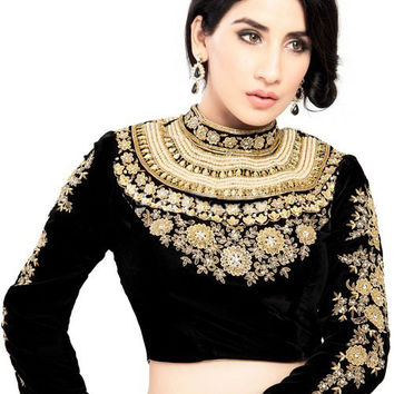 Magnificent Maharana Style Black Velvet Saree Blouse