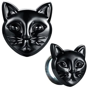 BodyJ4You Glass Ear Plugs Glossy Black Cat Double Flare Saddle Stretching Gauges Expander 0G-16mm