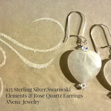 "Earrings: 925 Sterling Silver, Rose Quartz and Swarovski Elements "" I Love You!"" By ANena Jewelry"