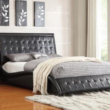 Tully collection black faux leather upholstered queen bed set with tufted accents