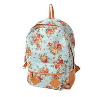 New Sky Blue Color Vintage Cute Flower Pattern School Bag Book Campus Bag Backpack