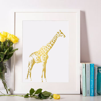 Giraffe Print, Giraffe Art, Gold Foil Print, Animal Print, Nursery Wall Art, Animal Wall Art, Kids Room Art, Kids Room Wall Art 8x10-A4