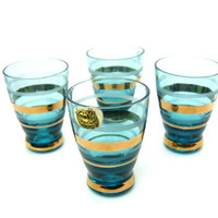 Mid Century Barware. Czech Glass. Bohemia Crystal Shot Glasses. Atomic Glassware. Set Four. Teal Blue, Gold, Frosted Bands. Vintage 1950s
