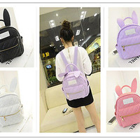 BUNNY EARS backpack wonderland rabbit pastel cute kawaii harajuku small bag new