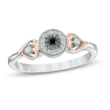 1/8 CT. T.W. Enhanced Black and White Diamond Heart Sides Promise Ring in Sterling Silver and 10K Rose Gold - Save on Select Styles - Zales