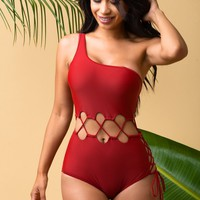 Bottom Bay One Piece Swimsuit - Burgundy