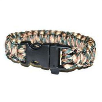 Survival Bracelet w/Whistle- Grey/Beige