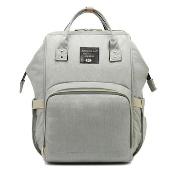 Baby Diaper Bag Multi-Function Travel Backpack Baby Nappy Changing Mommy Bags Beige Gray