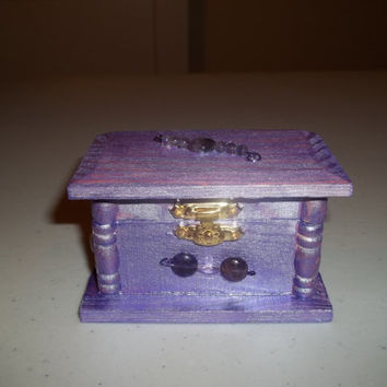Purple Passion Trinket Box with Genuine Amethyst Gemstones