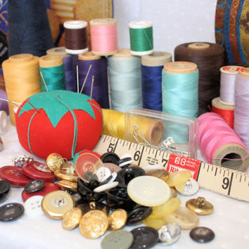 Huge Lot of Vintage Sewing Notions, Thread, Sewing Supplies,Buttons