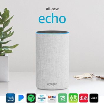 All-new Echo (2nd Generation) with improved sound, powered by Dolby, and a new design – Sandstone Fabric