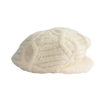 Irish Chunky Knit Cream Fishermans Hat