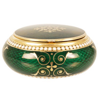 GRACHEV Green Guilloche Enamel Circular Box