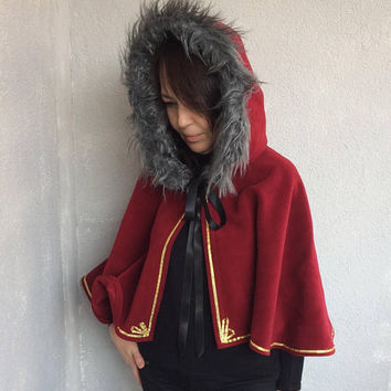 Fur Hooded Cape, Christmas Cosplay, CC from Code Geass, Anime Costume, Hooded Capelet, Christmas Cape, Burgundy Short Cloak, Women Outwear