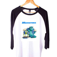 monsters university Short Sleeve Raglan - White Red - White Blue - White Black XS, S, M, L, XL, AND 2XL*AD*