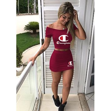 Fashion Womens Stylish CHAMPION Two Pieces TOP Skirts Sportswears