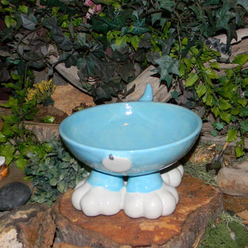 Dog Bowl with Paws and a little tail -  custom colors - Great for fundraisers for rescues  Elevated Food Water Bowl