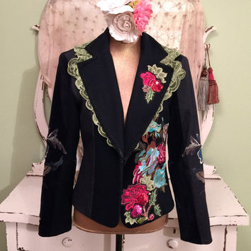 Bohemian Lace Jacket, Gypsy Velvet Blazer, Black Sequin Coat, Boho Folk Jacket, Art To Wear, Vintage Green Lace, Velvet Jacket, Womens  M/L