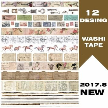 12Designs NEW!! Stamp/Horse/Lette/Nostalgia Girl/Eiffel Japanese Washi Decorative Adhesive DIY Masking Paper Tape Sticker Label