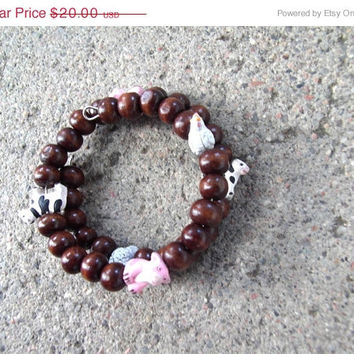 ON SALE Farm Animal Wrap Bracelet, Beaded Bracelet,  Brown Wood Beads, Cows Pigs Chickens, Vegan Jewelry, Eco-Friendly Jewelry