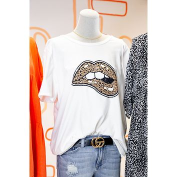 Leopard Lips Graphic Tee, Ivory | Plus Size