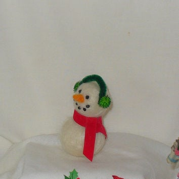 Cute Needle Felted Miniature Snowman Doll Ornament with green Earmuffs and Red Scarf
