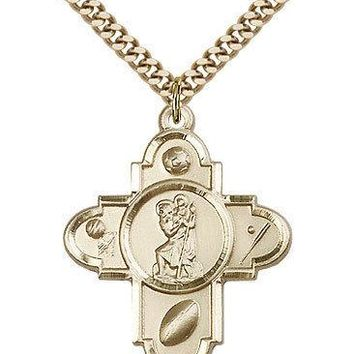 "Saint Christopher Medal For Men - Gold Filled Necklace On 24"" Chain - 30 Day ... 617759215496"