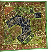 Ethnic Green Cushion Throw Patchwork Embroidered Sequin Cotton Pillow Cover Square 22x22