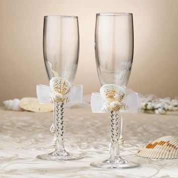 Sand & Shells Toasting Flutes - Etching Personalized Perfect Wedding Gift