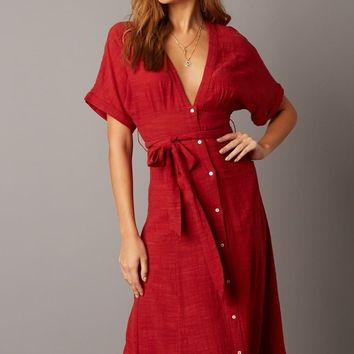 Plunging Dolman Sleeve Midi Dress - Red