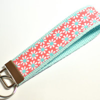 Key Fob Keychain Wristlet White Daisy Flowers Fabric Aqua and Coral  Aqua Blue Cotton Webbing