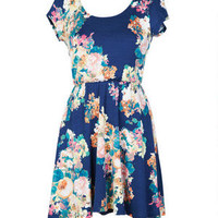 Floral Print Short-sleeve Dress