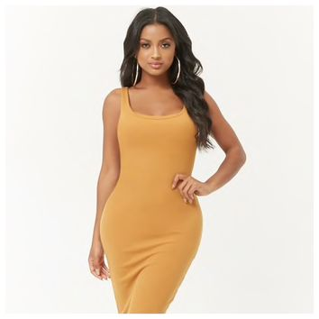 Ribbed Bodycon Dress Mustard